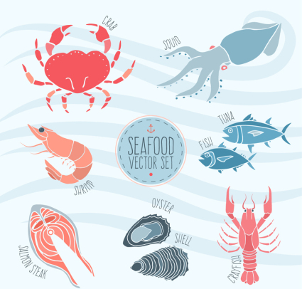 7 creative seafood vector material