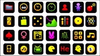 Black icons, web buttons, bombs, camera, Bluetooth Clock Calculator Games