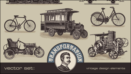 European and American retro transport 02 - vector material